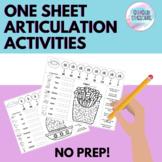 One Sheet Articulation Activities | No Prep