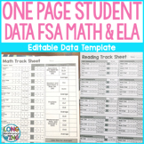 One Sheet Data Tracker Student Template for FSA Math and B