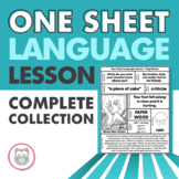 One Sheet Language Lesson BUNDLE! - No Prep Speech Therapy Printables