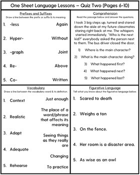 One Sheet Language Lessons - No Prep Speech Therapy Printables