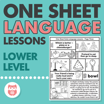 One Sheet Lower Level Language Lessons - No Prep Speech Therapy Printables