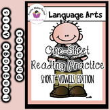 #christmasinjuly Short Vowels One Sheet Reading Practice