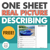One Sheet Real Picture Describing - Speech Therapy Freebie