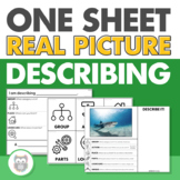 One Sheet Real Picture Describing for Speech Therapy - No Print