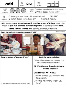 One Sheet Vocabulary Worksheets for Speech Therapy