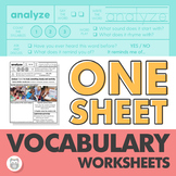 #nov2019halfoffspeech One Sheet Vocabulary Worksheets for