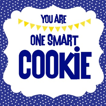 One Smart Cookie Label in BLUE & YELLOW