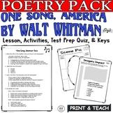 One Song America Whitman: Common Core Poetry Test Prep Lesson, Quiz, Activities