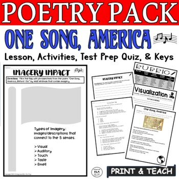 Walt Whitman Poetry Comprehension Worksheets And Questions One Song America