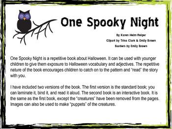 One Spooky Night Halloween Interactive Book Preschool Language