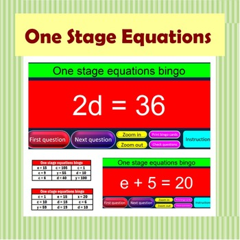 One Stage Equations Bingo