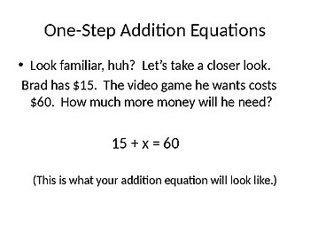 One-Step Addition Equations