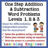 2nd Grade Math Center: One Step Addition Word Problem & Subtraction Word Problem