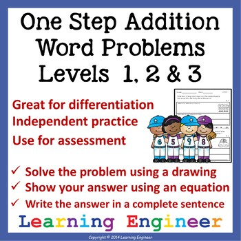 Addition Word Problem Worksheets (One Step Equations) Math