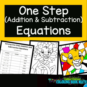 """One Step Addition and Subtraction Equations Coloring Book Math """"The Lion King"""""""