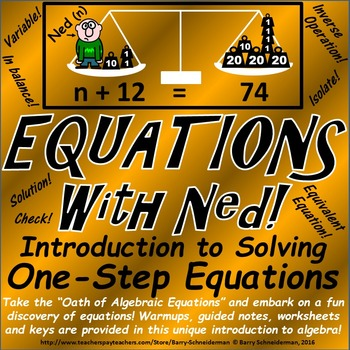 Solving One Step Equations Unit: Addition, Subtraction, Multiplication, Division