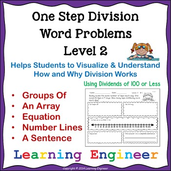 Division Word Problems (3rd Grade Math Center) One Step Equations