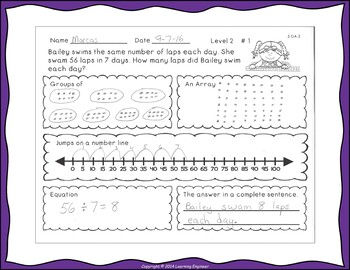 Division Word Problems Dividends of 100 or less