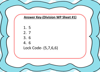 One Step Division Word Problems-Lock Box Escape Room