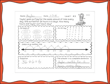3rd Grade Math Centers (Division Word Problems) One Step Equations