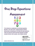 One Step Equation Assessment with Common Core Standards