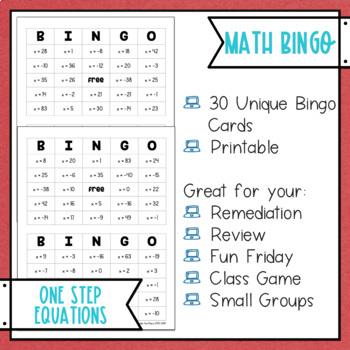 One Step Equations BINGO Math Game