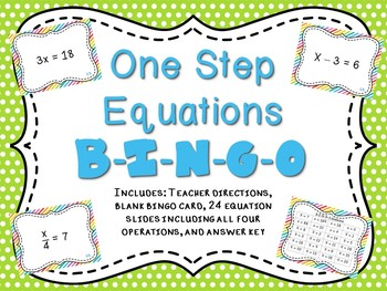 One Step Equation BINGO