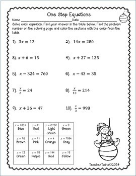One-Step Equation Christmas Coloring Sheet