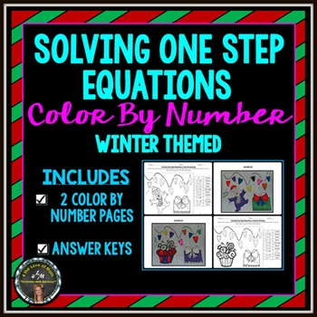 One Step Equation Color By Number: Winter/Christmas Themed