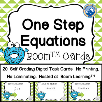 One Step Equation BOOM Cards plus Printable Task Cards