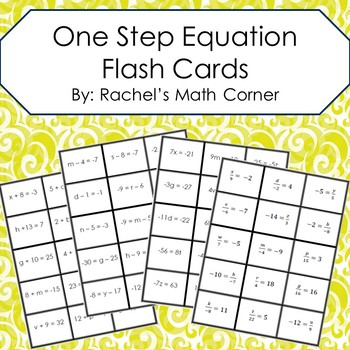 One Step Equation Flash Cards - (+, -, *, and /)