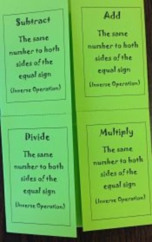 One Step Equation Foldable