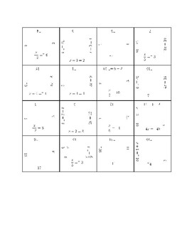 Solving One Step Equations Fun Puzzle Activity (Positives and Negatives)