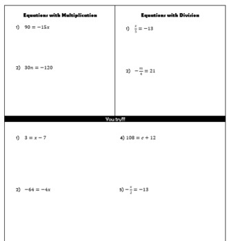 One Step Equation Guided Notes
