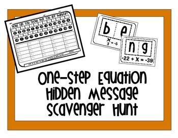 One-Step Equation Hidden Message Scavenger Hunt