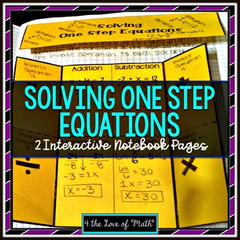 One Step Equation Interactive Notebook Page and Practice Sheet