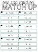 One Step Equation Match up   Hands on   Algebra   Scaffolded Activty