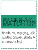 One Step Equation Match up | Hands on | Algebra | Scaffold