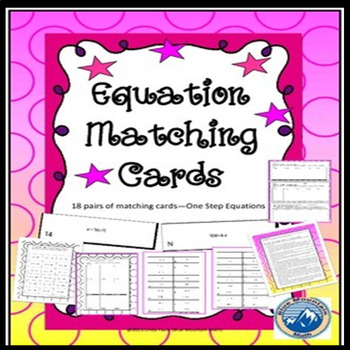 One Step Equation Matching Cards Set