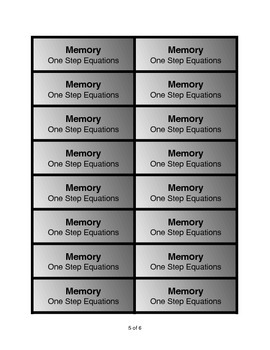 One-Step Equation Memory Game: +,-,x integer answers