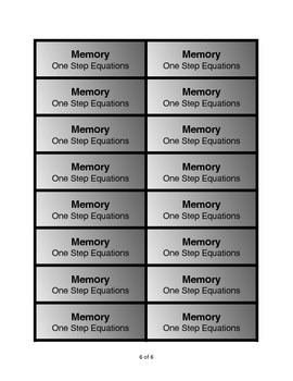 One-Step Equation Memory Game: +,-,x positive integer answers