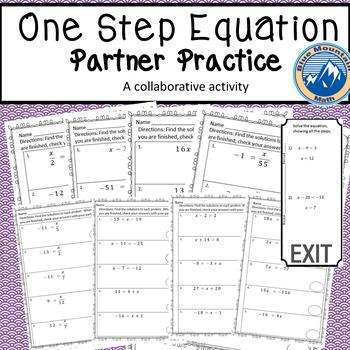 One Step Equation Partner Practice