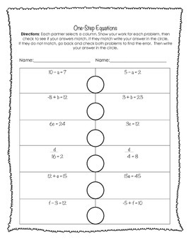 One-Step Equations Partner Activity