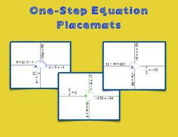 One-Step Equation Placemats