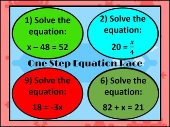 One Step Equation PowerPoint Race