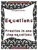 One-Step Equation Practice:  Homework or Worksheets