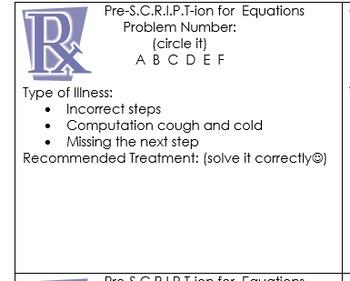 One Step Equation Prescription Activity