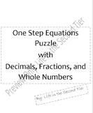 One Step Equation Puzzle with decimals, fractions, and who