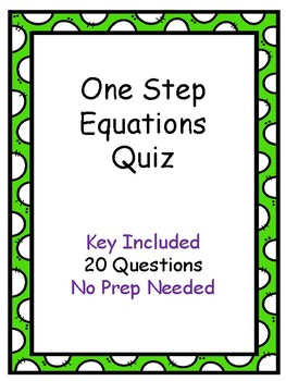 One Step Equation Quiz with Key Included