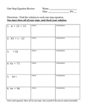 One-Step Equation Review (no negative numbers)